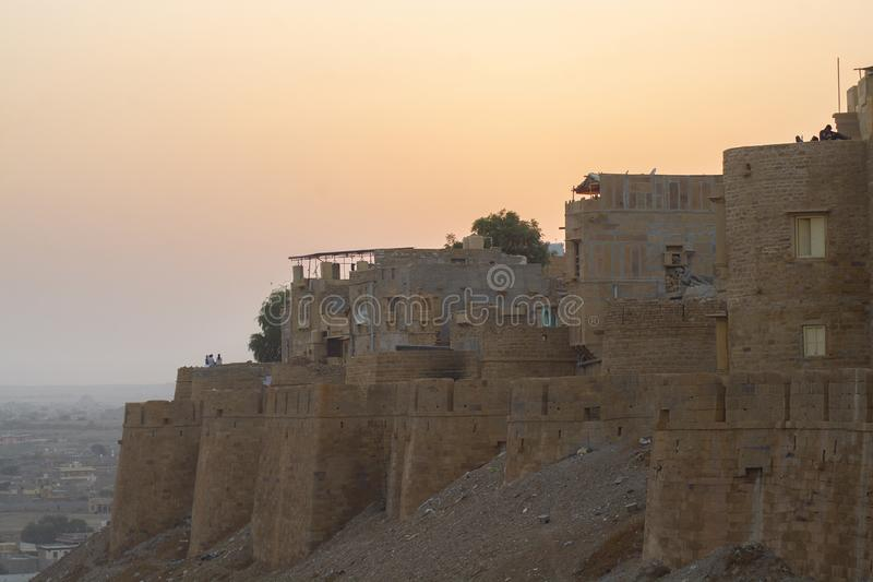 Jaisalmer Fort at twilight, Rajasthan State, India stock image