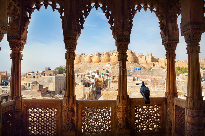 Jaisalmer从Haveli的堡垒视图 库存图片