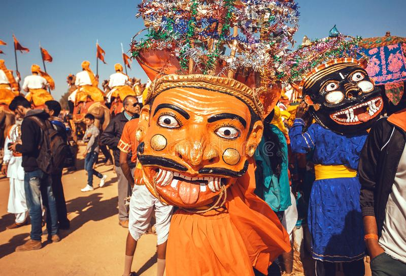 Traditional Evil mask of actor`s costume on street carnival of the popular Desert Festival stock images
