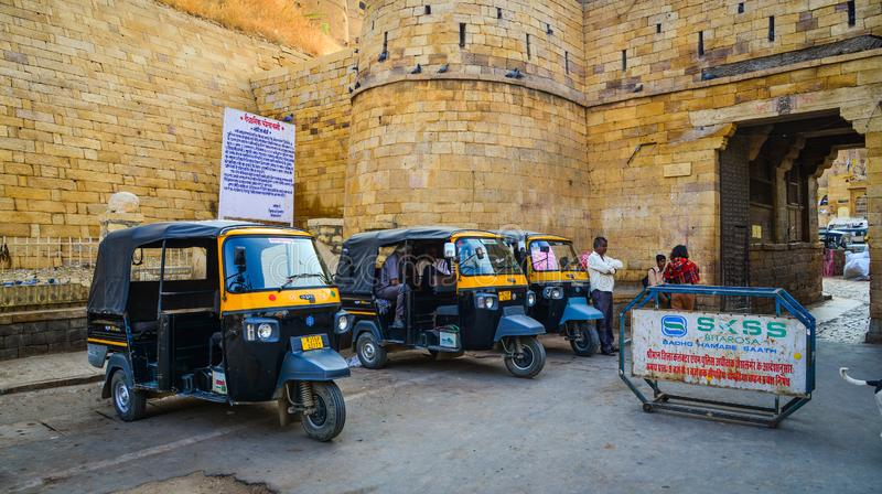 Tuk tuk taxis at Jaisalmer Fort stock photography