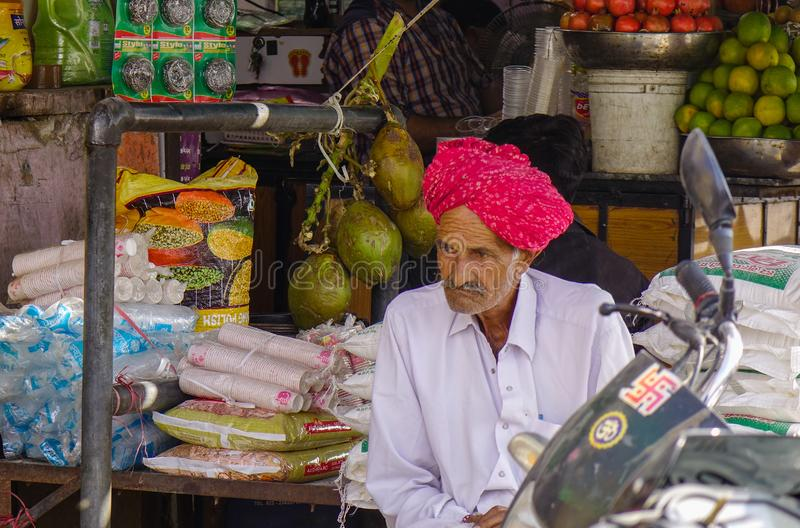 A vendor at local market stock image