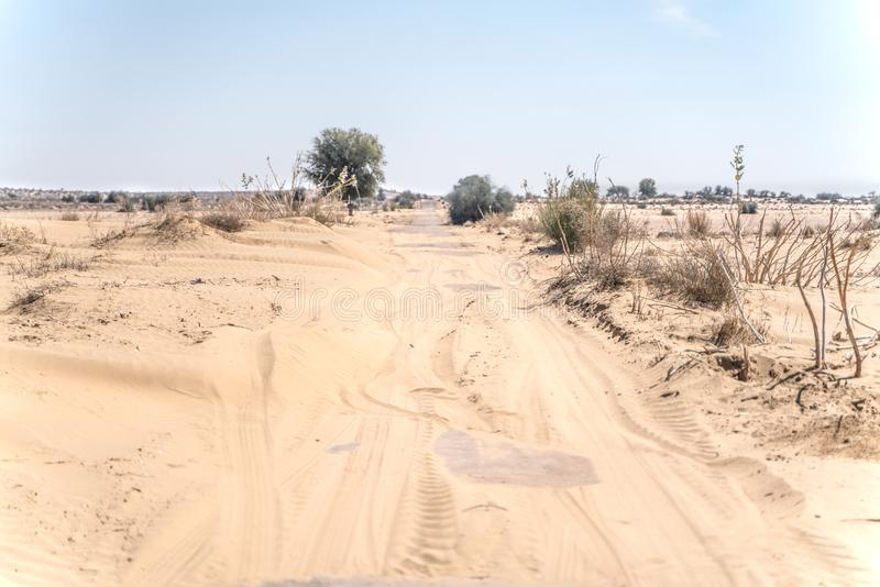 The jaisalmer sand road in India stock image