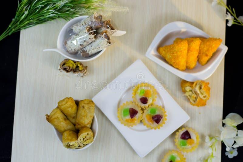 Jajanan pasar or variety of indonesia traditional street market cake royalty free stock photo