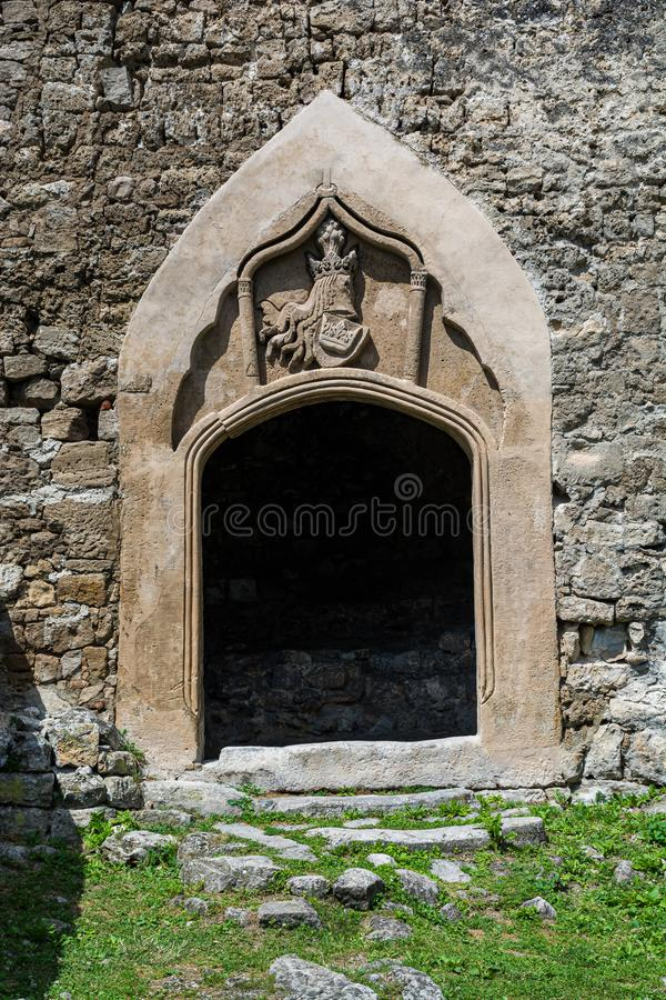 Jajce, Bosnia and Herzegovina - July 16, 2019. Details of entrance in Jajce fortress.  royalty free stock image
