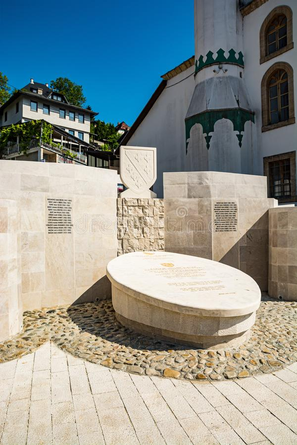 Jajce, Bosnia and Herzegovina - July 17, 2019. Memorial by Esma Sultana Mosque.  royalty free stock images