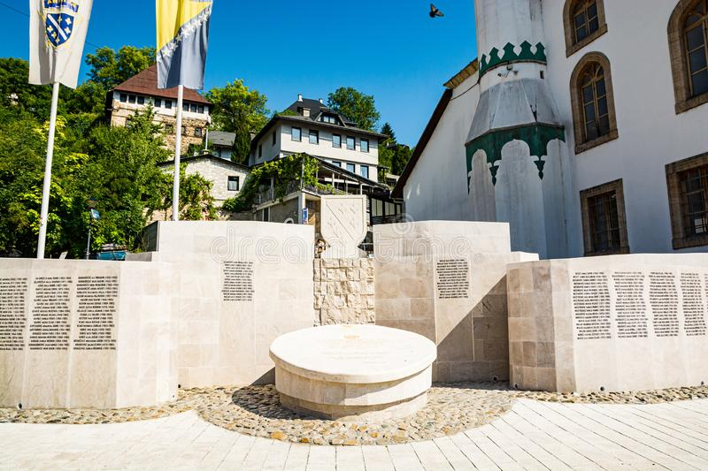 Jajce, Bosnia and Herzegovina - July 17, 2019. Memorial by Esma Sultana Mosque.  stock image