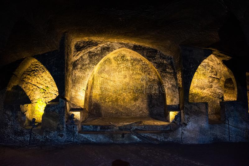Jajce, Bosnia and Herzegovina - July 16, 2019. Old underground catacombs.  stock image