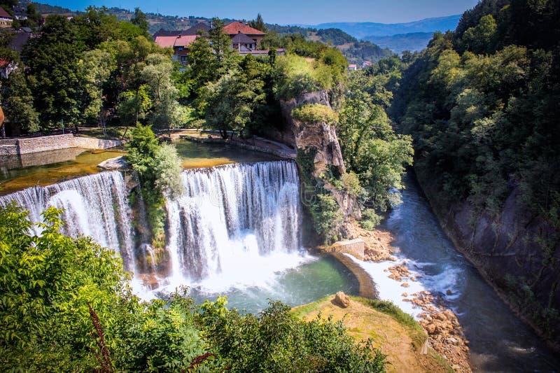 Jajce-Wasserfall stockfotografie