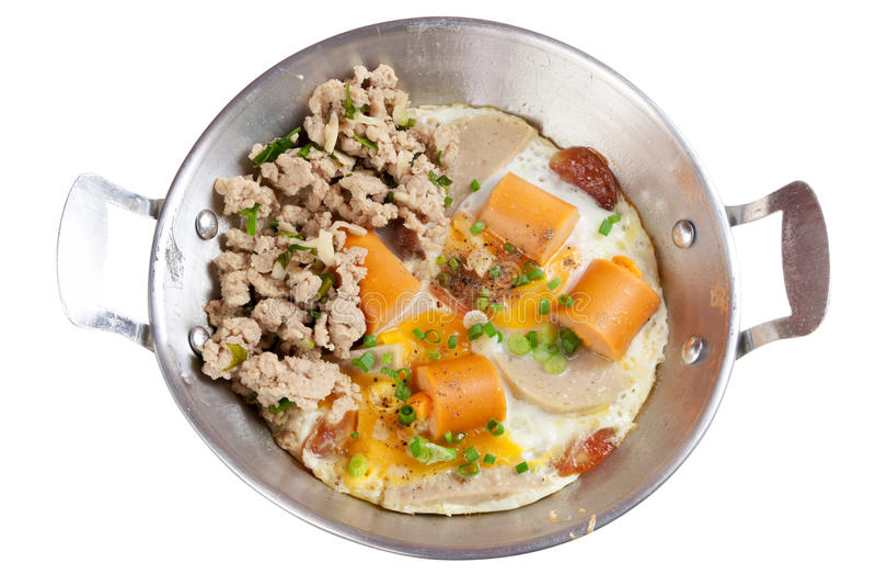 Jajeczna smaży niecka obraz royalty free