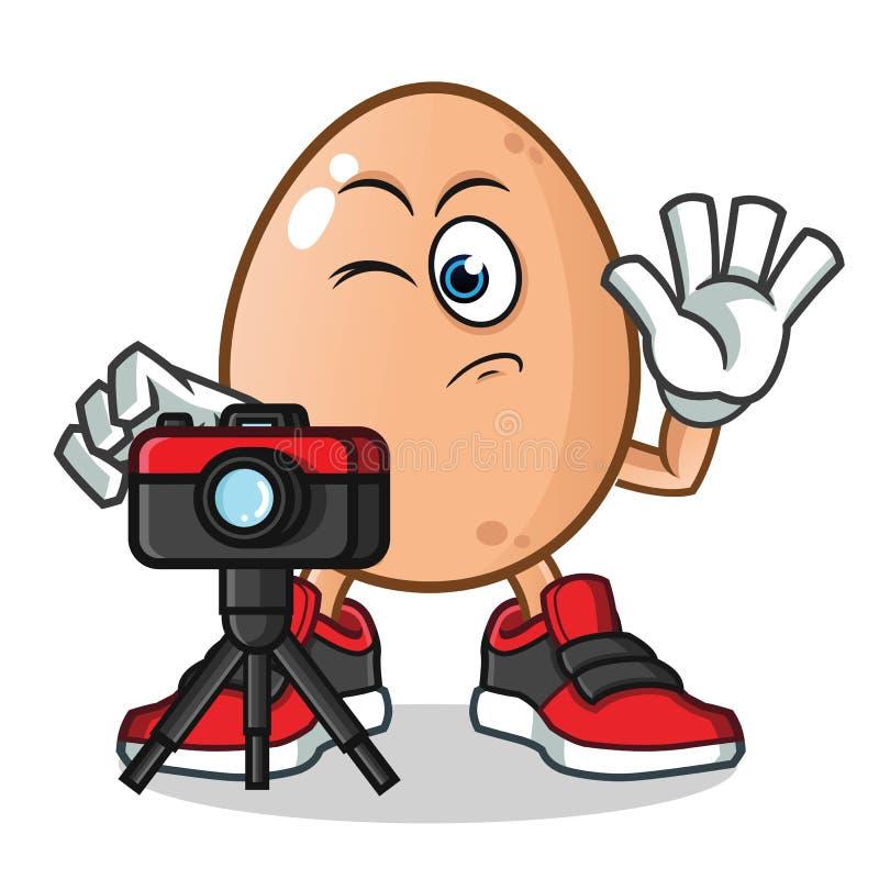 Jajeczny fotograf bierze obrazek maskotce wektorową kreskówki ilustrację ilustracji