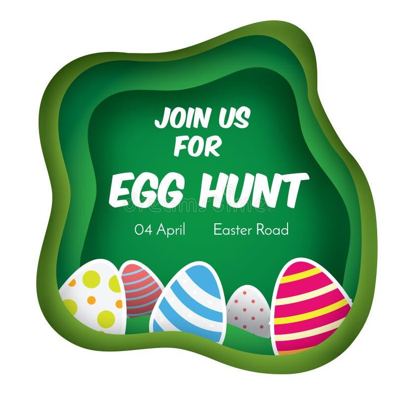 Jajeczny polowanie Wielkanocny sztandar Tło w papieru cięciu, papierowego rzemiosła styl Zaproszenia dla dzieciaków i dzieci Wios ilustracji