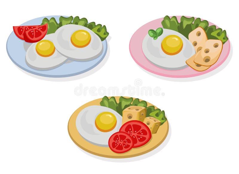 Jajeczny zdrowy śniadaniowy świeży smakowity posiłku ser ilustracja wektor