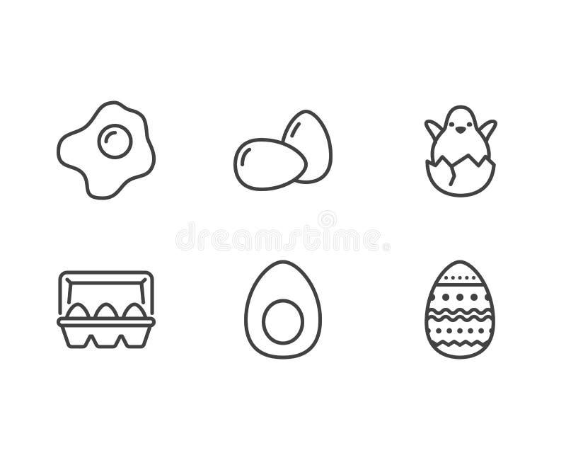 Jajka, żywności organicznej mieszkania linii ikony Śniadanie smażący jajko, klujący się kurczak w eggshell wektorowej ilustraci,  ilustracja wektor