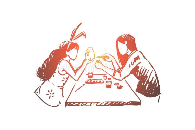 Jajka dekoruje mistrz klas?, handwork, c ilustracji