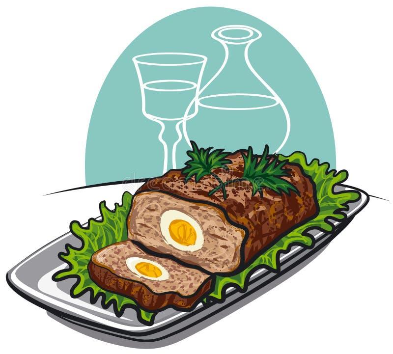 jajka gotowany meatloaf royalty ilustracja