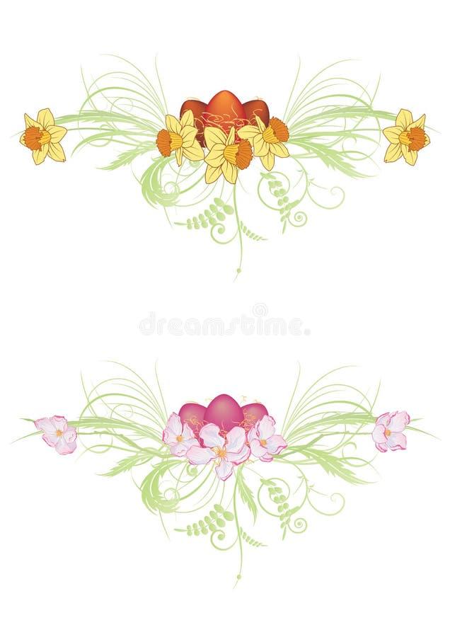 Jajka, jabłka i narcyza kwiaty, royalty ilustracja