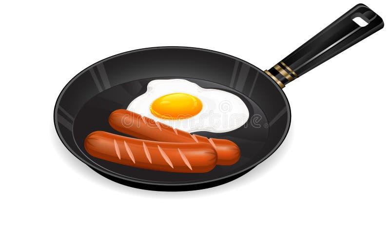 jajka smażąca niecki kiełbasa ilustracja wektor