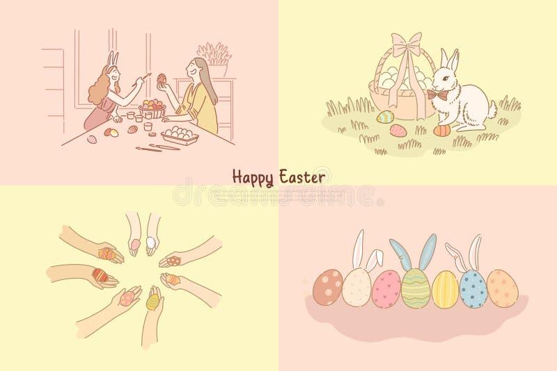 Jajka tropią, dekoracja, pysanka z multicolor tradycyjnym ornamentem, świąteczny królik blisko koszykowego sztandaru szablonu royalty ilustracja
