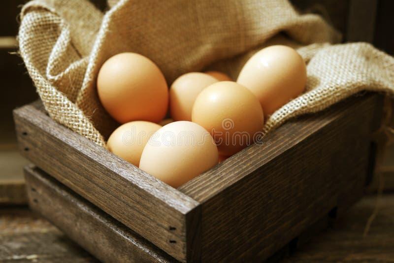 Jajka w Drewnianej skrzynce zdjęcia royalty free