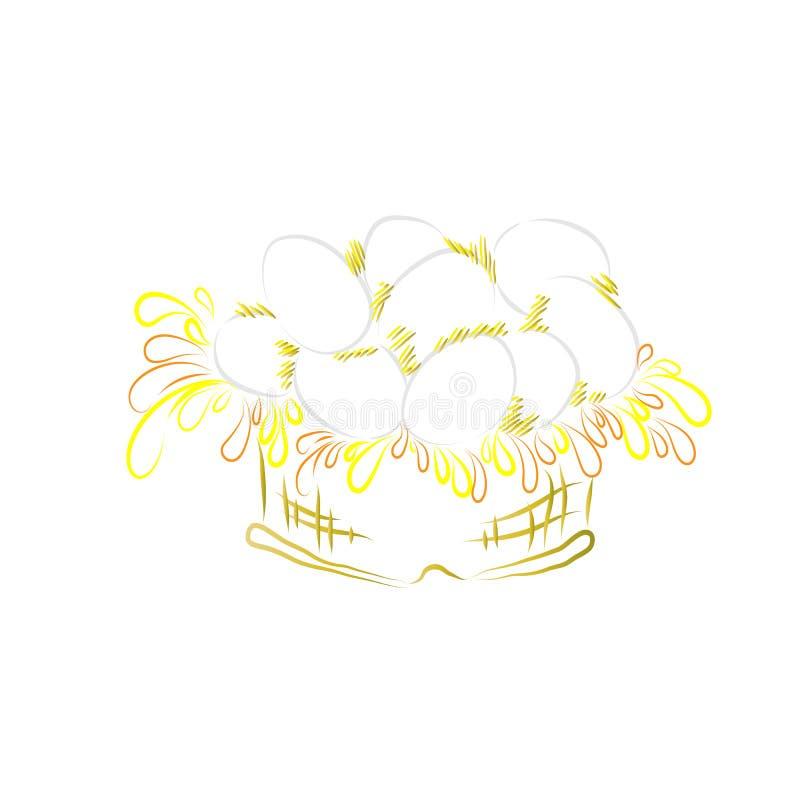 Jajka w koszykowi piórka wielkanoc szczęśliwy obrazy royalty free