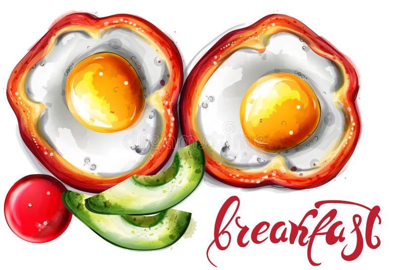 Jajko śniadaniowa Wektorowa akwarela posi?ek organicznie Menu wyśmienicie strony ilustracja wektor
