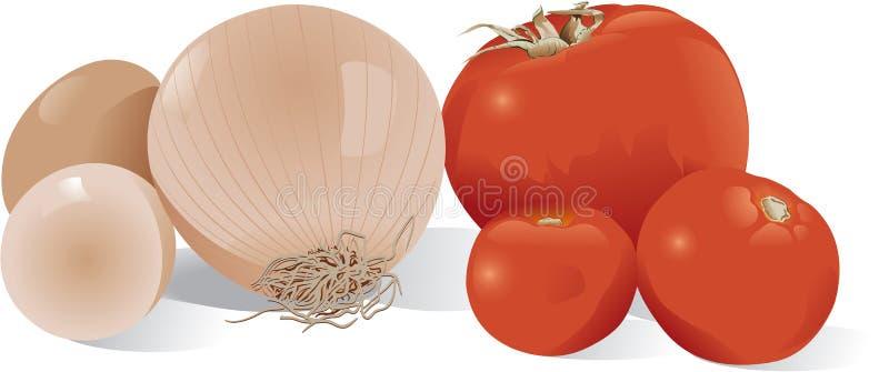 jajko cebulę pomidorów ilustracji