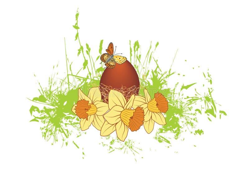 Jajko i narcissuses royalty ilustracja