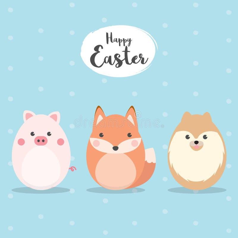 Jajko Kształtujący zwierzę charakter - ustawia dla Wielkanocnego dnia, Wielkanocni jajka maluje Śliczna świnia, Fox i Psi charakt ilustracji