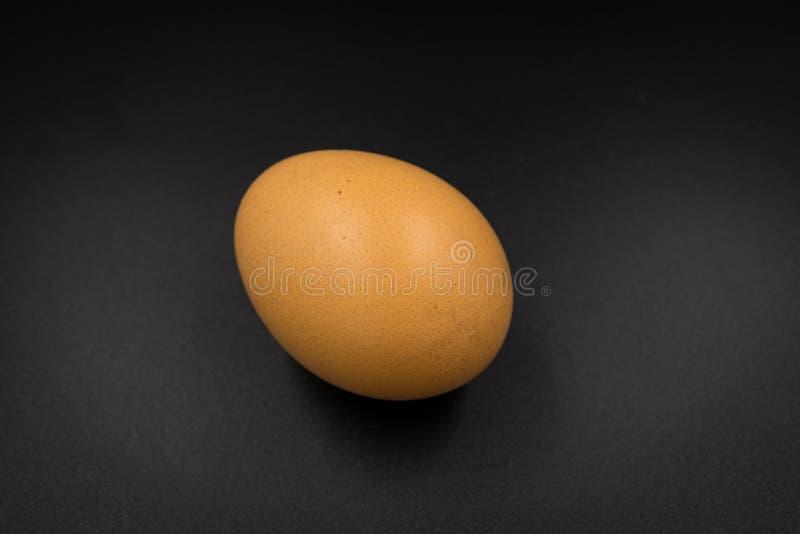 Jajko na czarnym tło pomarańcze brązie zdjęcia royalty free