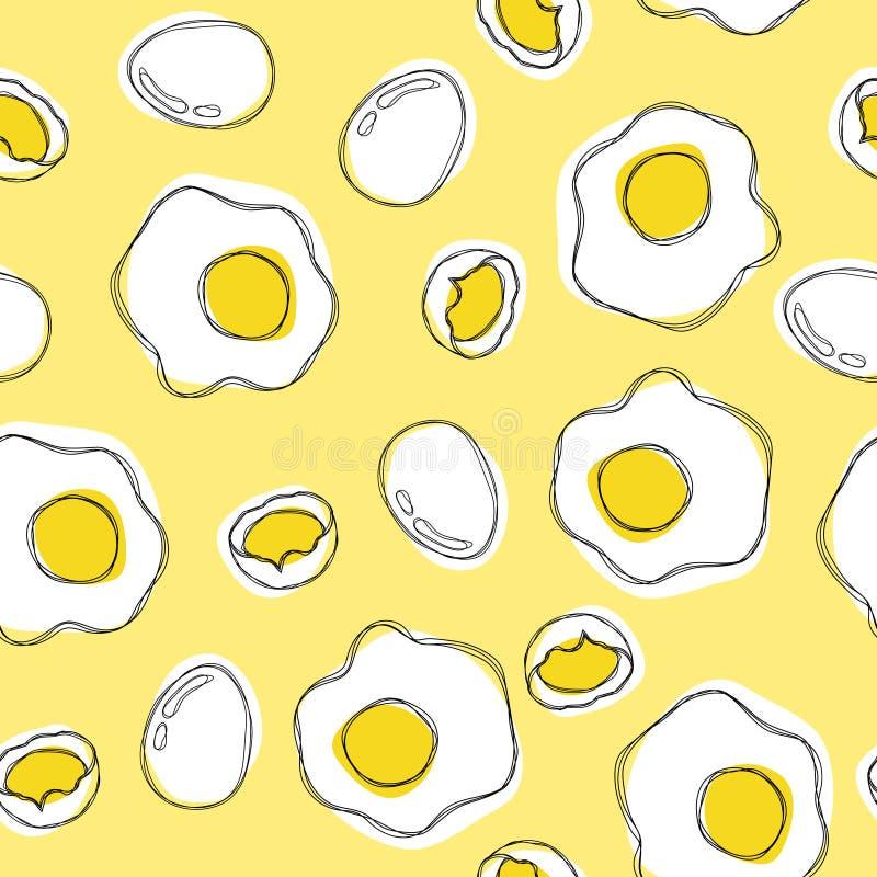 Jajko ręki remisu bezszwowy wzór royalty ilustracja