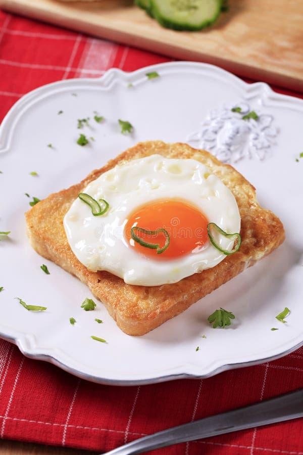 jajko smażąca grzanka obraz stock