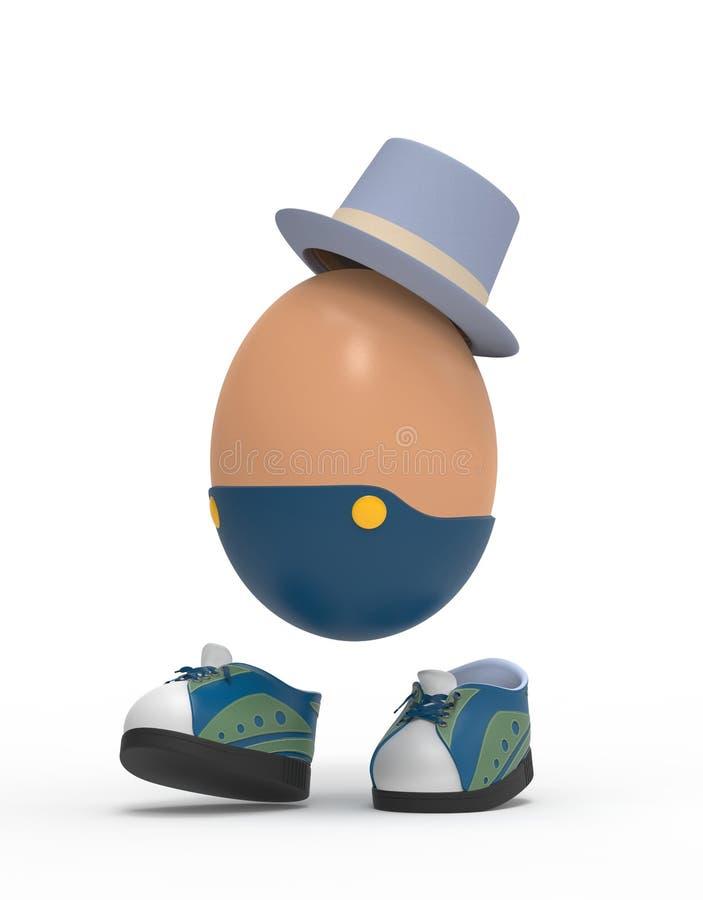Jajko z kapeluszem i tenisówka royalty ilustracja