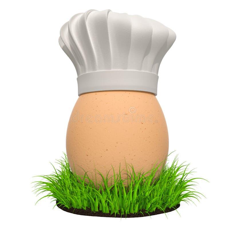 Jajko z szefami kuchni Kapeluszowymi w zielonej trawie, 3D rendering royalty ilustracja