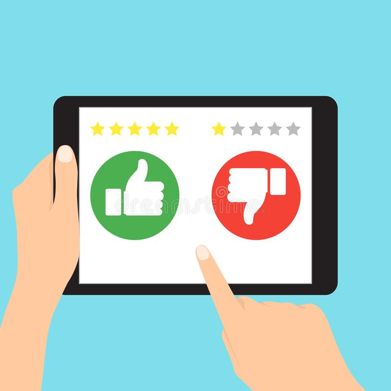 Jak i niechęć, informacje zwrotne Klient informacje zwrotne i Klienta przeglądowy komunikacyjny wektorowy symbol ilustracja wektor