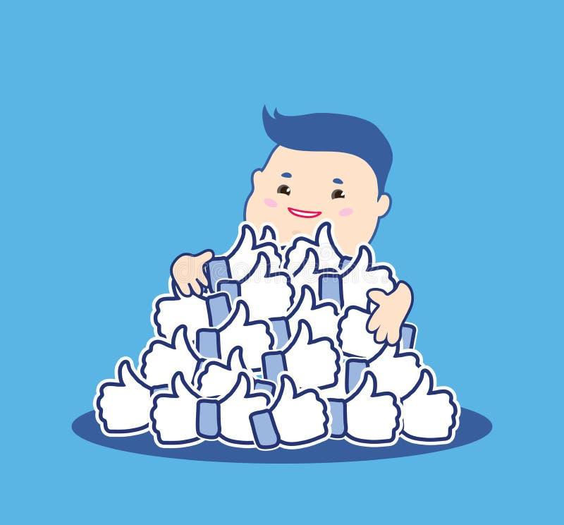 Jak ja pojęcie Aprobata symbole Szczęśliwy kreskówka mężczyzna ściska błękitną guzik rękę lubi Płaski projekt dla ogólnospołeczne royalty ilustracja