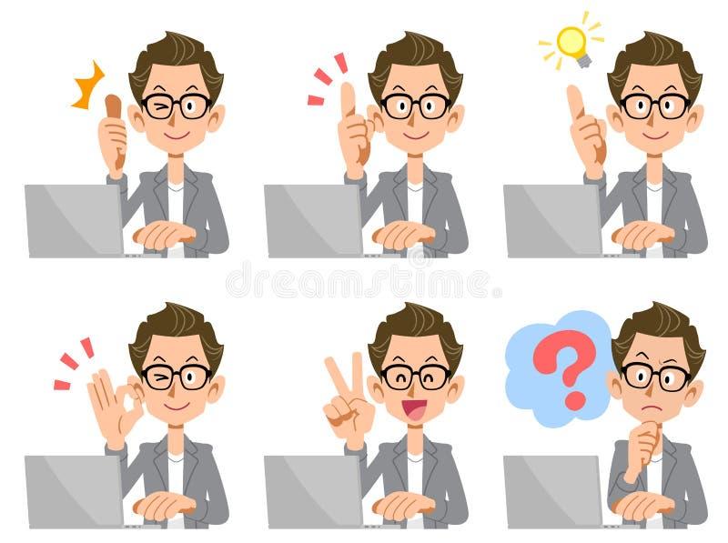 A jak mężczyzna który działa laptop, set wyrazy twarzy i gesty, ilustracja wektor