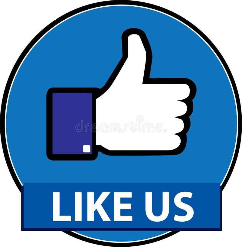 Jak my facebook guzika wektor ilustracji