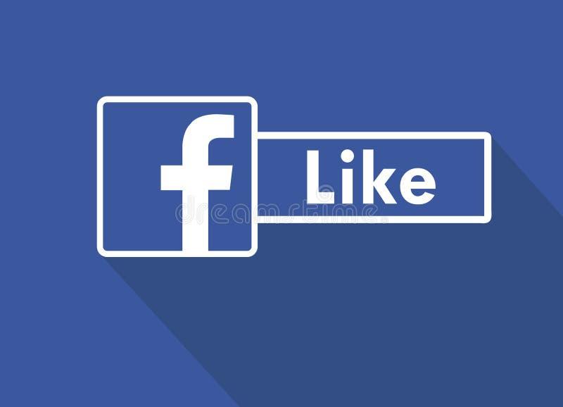 Jak My Na Facebook Płaska projekt ikona Jak ja na facebook Ogólnospołeczni środki i networking ilustracji