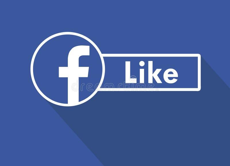 Jak My Na Facebook Płaska projekt ikona Jak ja na facebook Ogólnospołeczni środki i networking royalty ilustracja