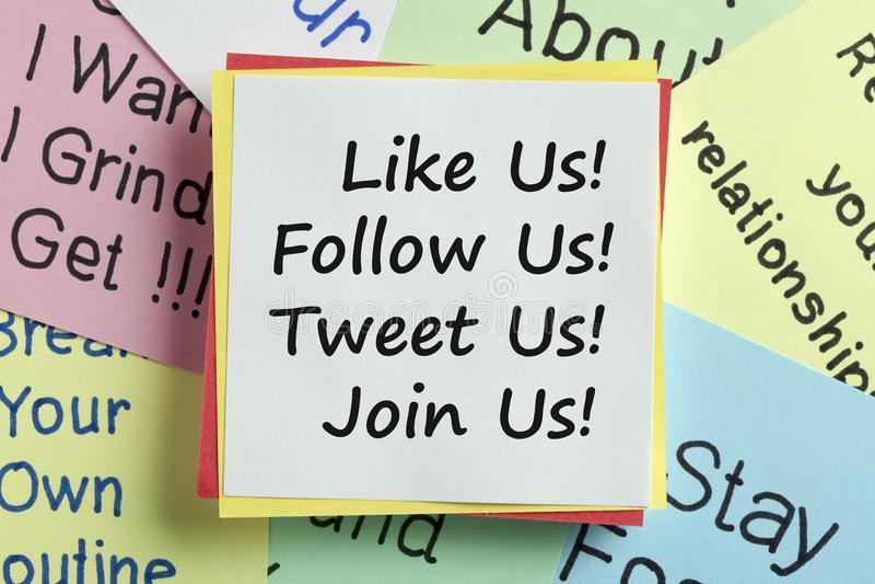 Jak my podąża my tweet my łączy my pojęcie ogólnospołeczny medialny marke fotografia stock