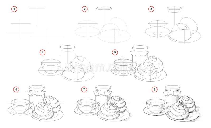 Jak narysować krok po kroku jeszcze życie z filiżanką herbaty i smacznych ciastek Tworzenie rysunku ołówka krok po kroku ilustracja wektor