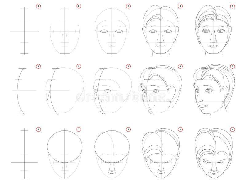 Jak rysować szkic głowy człowieka w różnych pozycjach Tworzenie rysunku ołówka krok po kroku Strona edukacyjna dla artystów royalty ilustracja
