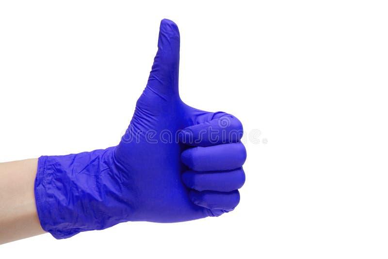 Jak szyldowa ikona robić purpurowe medyczne rękawiczki fotografia stock
