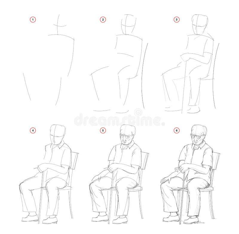 Jak wyciągnąć ze szkicu natury siedzącego staruszka Tworzenie rysunku ołówka krok po kroku Strona edukacyjna dla artystów ilustracja wektor