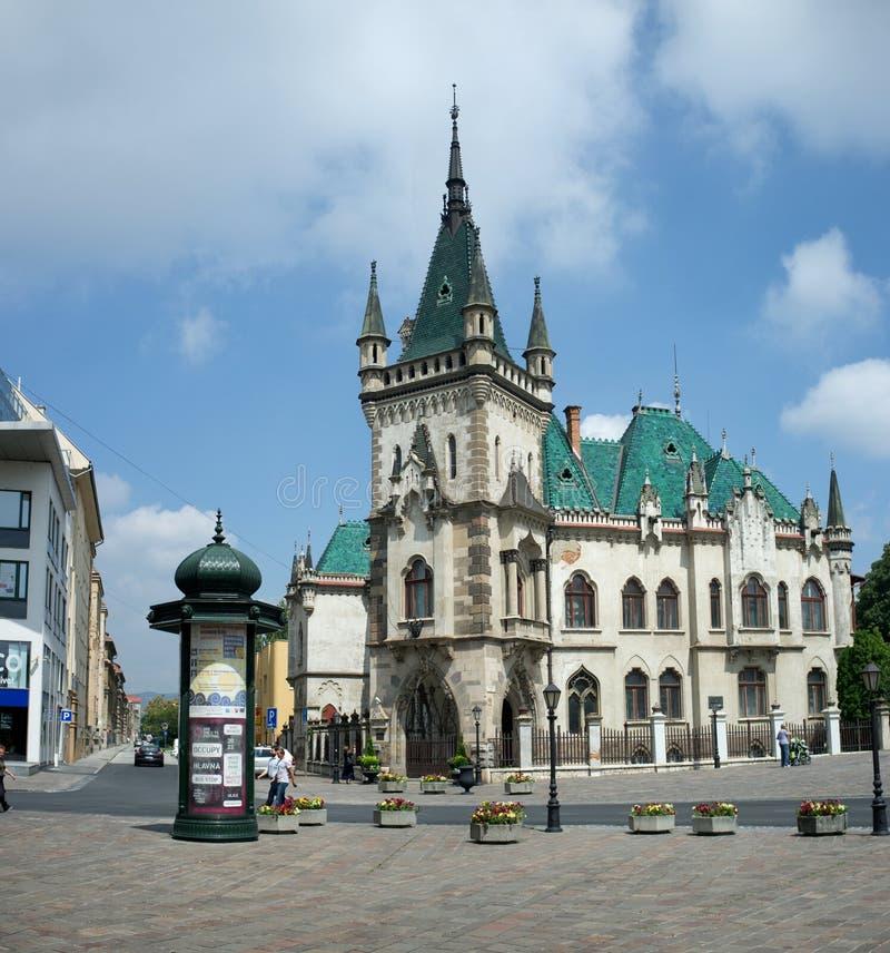 Jakab pałac z zielonymi wieżyczkami w Kosice fotografia stock