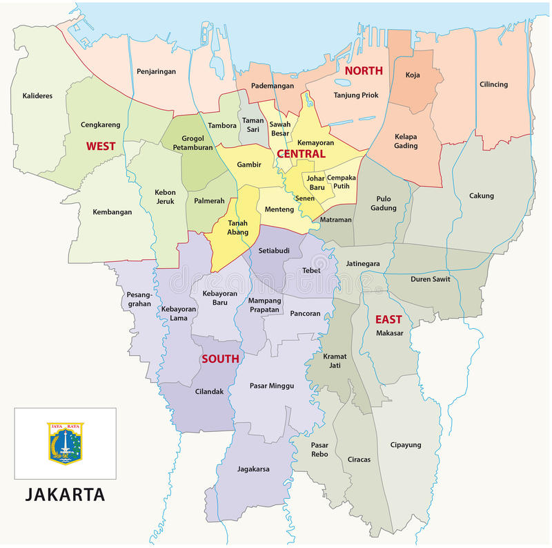Jakarta administrative map stock illustration Illustration of