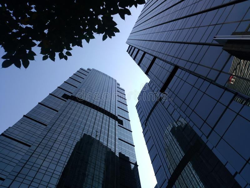 Jakarta building view with morning Blue sky. Low angle jakarta building view stock image