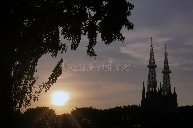 Jakarta Cathedral, Indonesië stock afbeeldingen