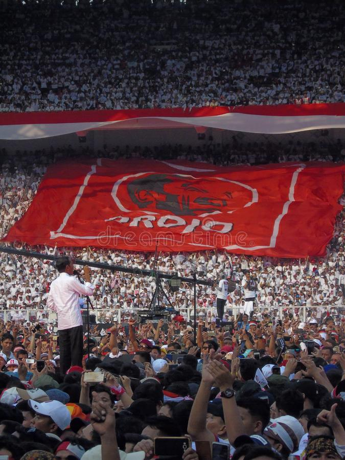 Candidates for President Joko Widodo campaign in front of hundreds of thousands of supporters at GBK Senayan. Jakarta, Indonesia - April 13, 2019: Candidates royalty free stock images