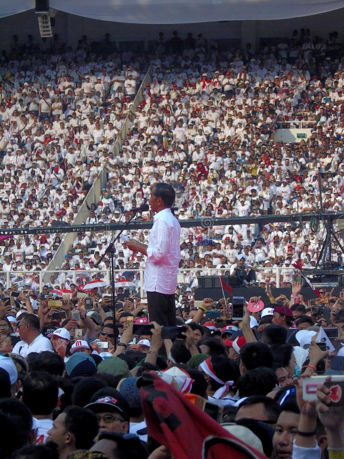 Candidates for President Joko Widodo campaign in front of hundreds of thousands of supporters at GBK Senayan. Jakarta, Indonesia - April 13, 2019: Candidates royalty free stock photos